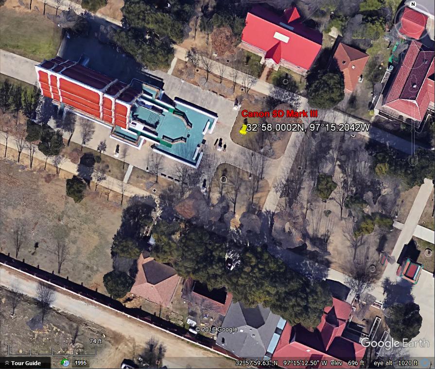 GPS coordinates, Canon 5D Mark III, Buddhist Temple, Keller Texas.