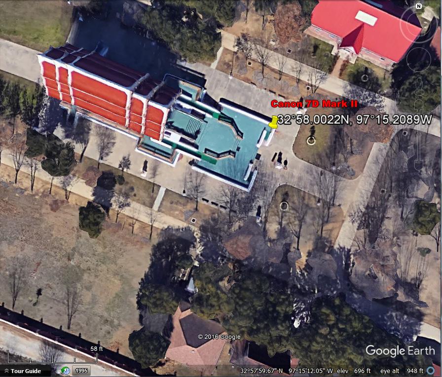 GPS coordinates, Canon 7D Mark II, Buddhist Temple, Keller Texas.
