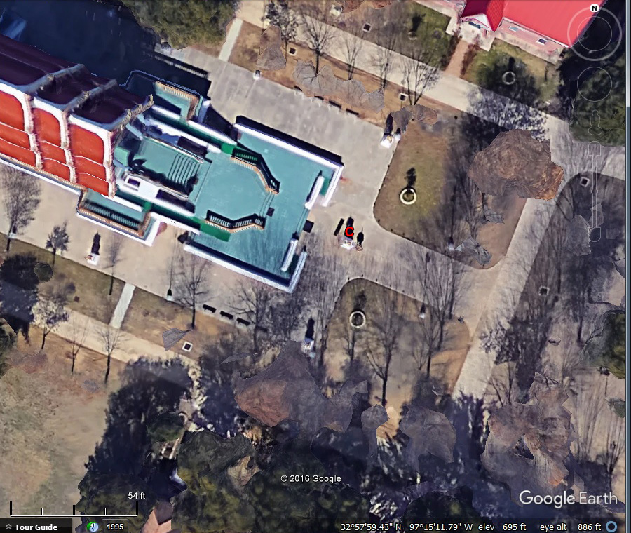"Camera location (red ""C""), Buddhist Temple, Keller Texas."