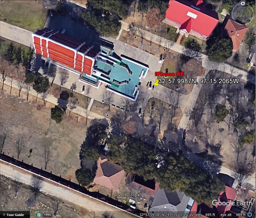 GPS coordinates, iPhone SE, Buddhist Temple, Keller Texas.