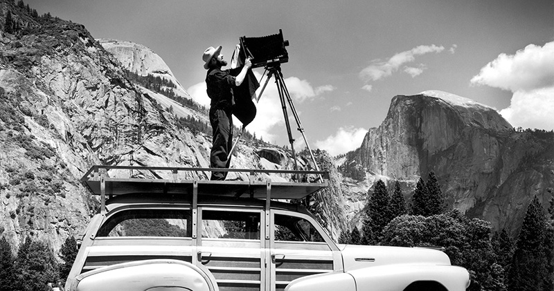 Ansel Adams at work in Yosemite Valley.