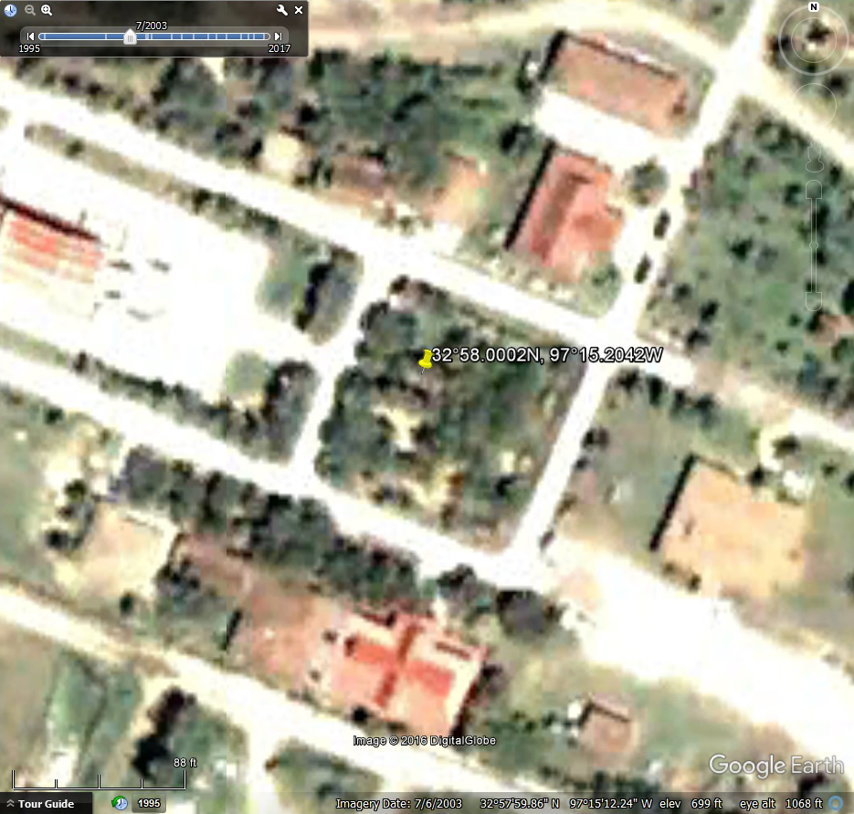 Google Earth Satellite Map for July 6, 2003. Buddhist Temple, Keller Texas.