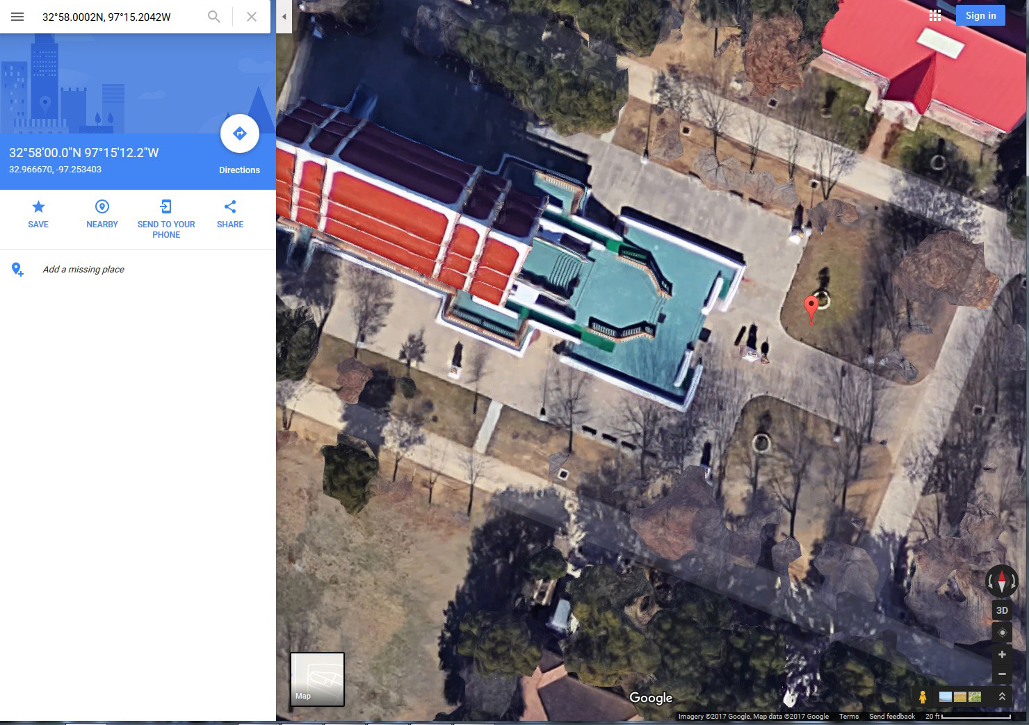 Canon 5D Mark III GPS coordinates (red pin) in Google Maps. Buddhist Temple, Keller Texas.