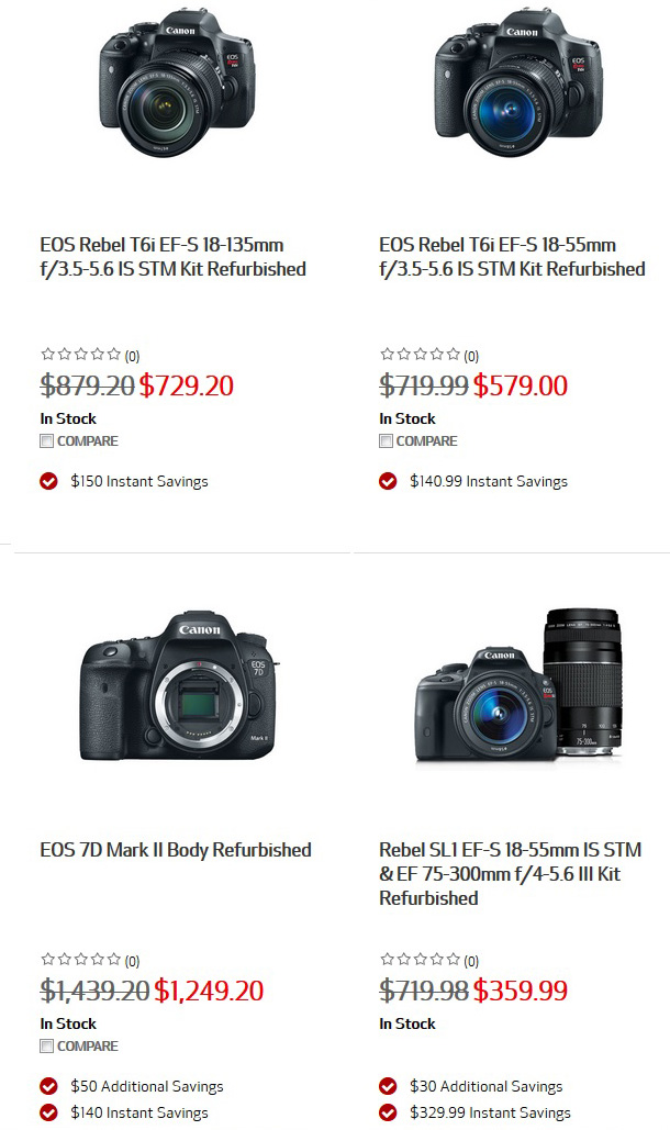 Canon refurbished cameras and lenses.