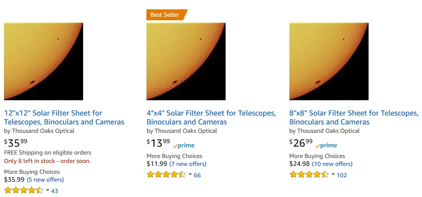 back in stock before the eclipse! solar filter sheets made by ...
