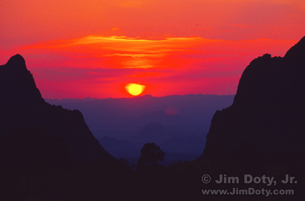 "Sunset, ""The Window"", Chisos Basin, Big Bend National Park, Texas."