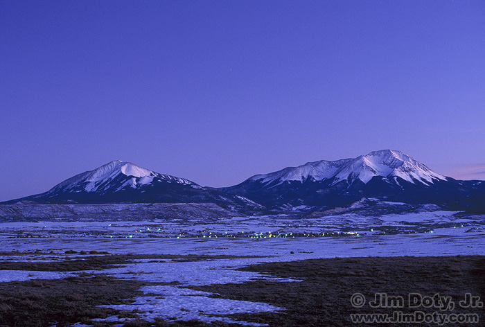 Spanish Peaks and LaVeta Colorado at dusk.