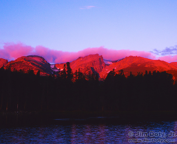 Sprague Lake, Alpenglow on the Peaks, Rocky Mountain National Park, Colorado