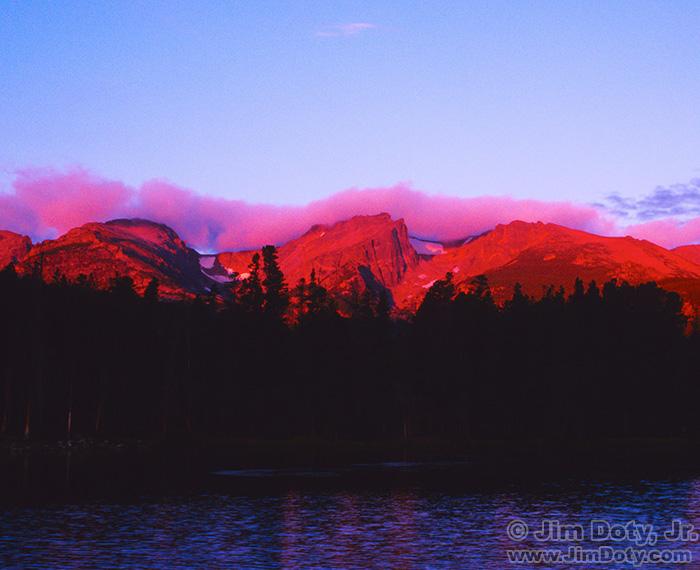 Sprague Lake, Alpenglow on the Peaks, Rocky Mountain National Park, Colorado
