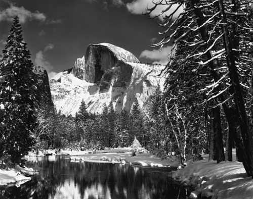Ansel Adams - Half done, Merced River, Winter