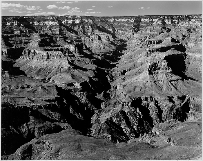 Ansel Adams, Grand Canyon. Sky contrast enhanced with a soft light brush.