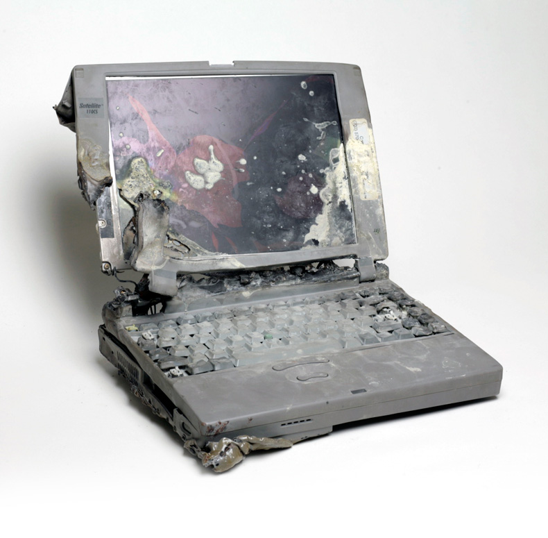 This laptop burned in a house fire. DriveSavers recovered the data.