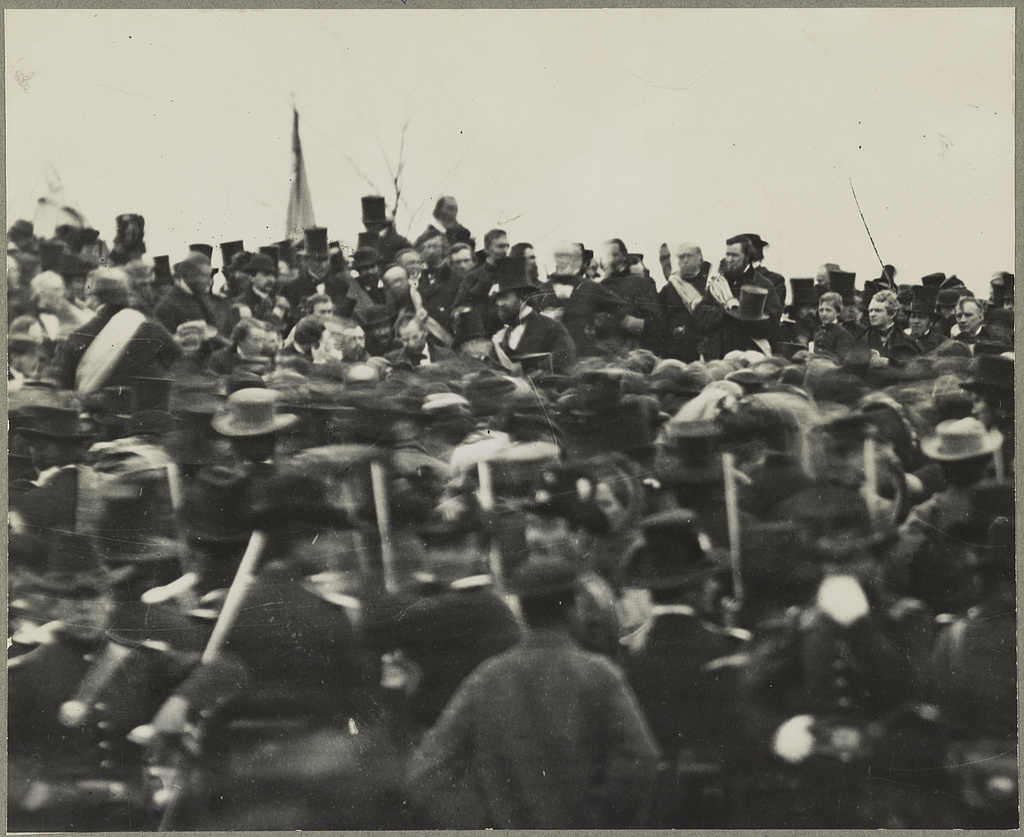 The only known photo of Lincoln at Gettysburg.