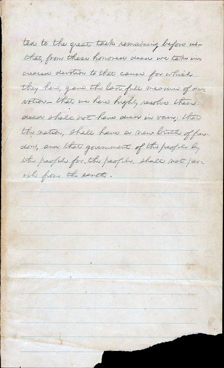Gettsyburg Address, first draft, page 2, handwritten by Abraham Lincoln. Click to see a larger version.
