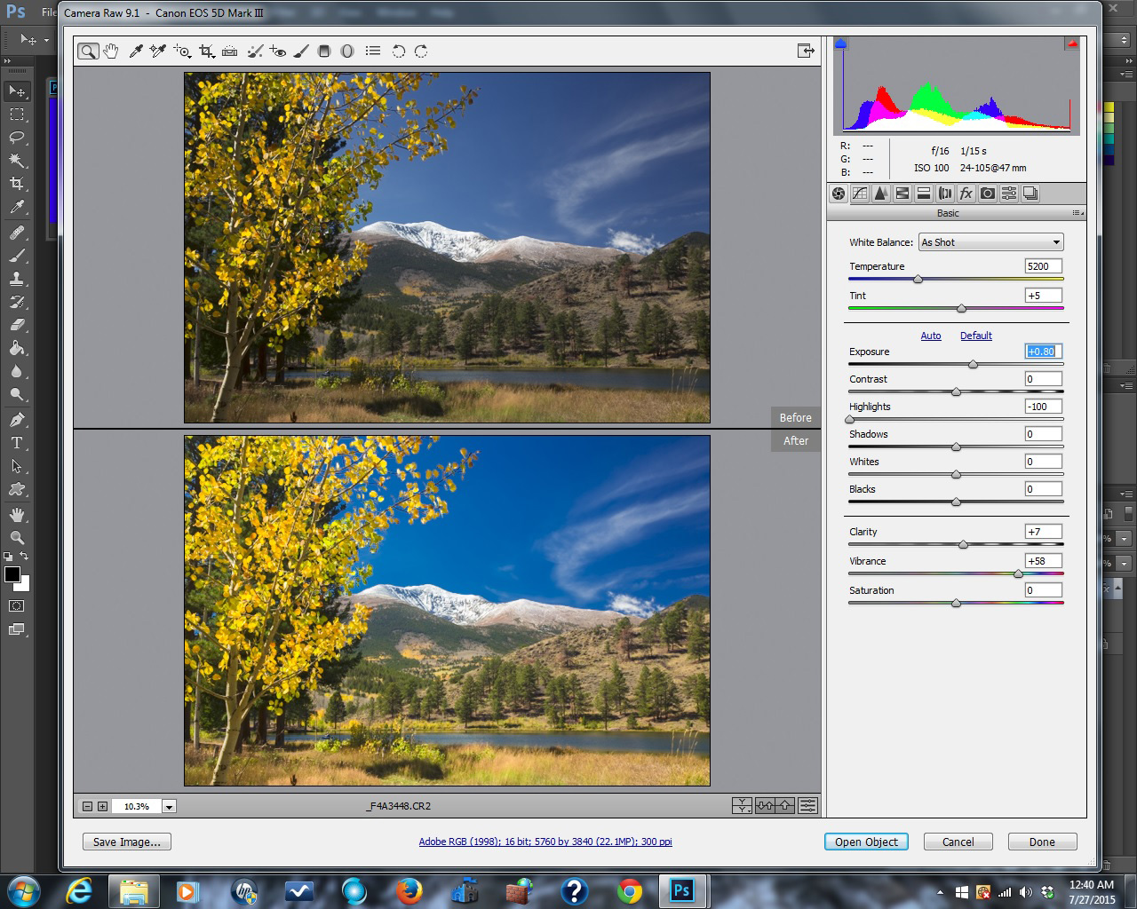 O'Haver Lake and Mt. Ouray. File open in Adobe Camera Raw. Click to see a much larger version.