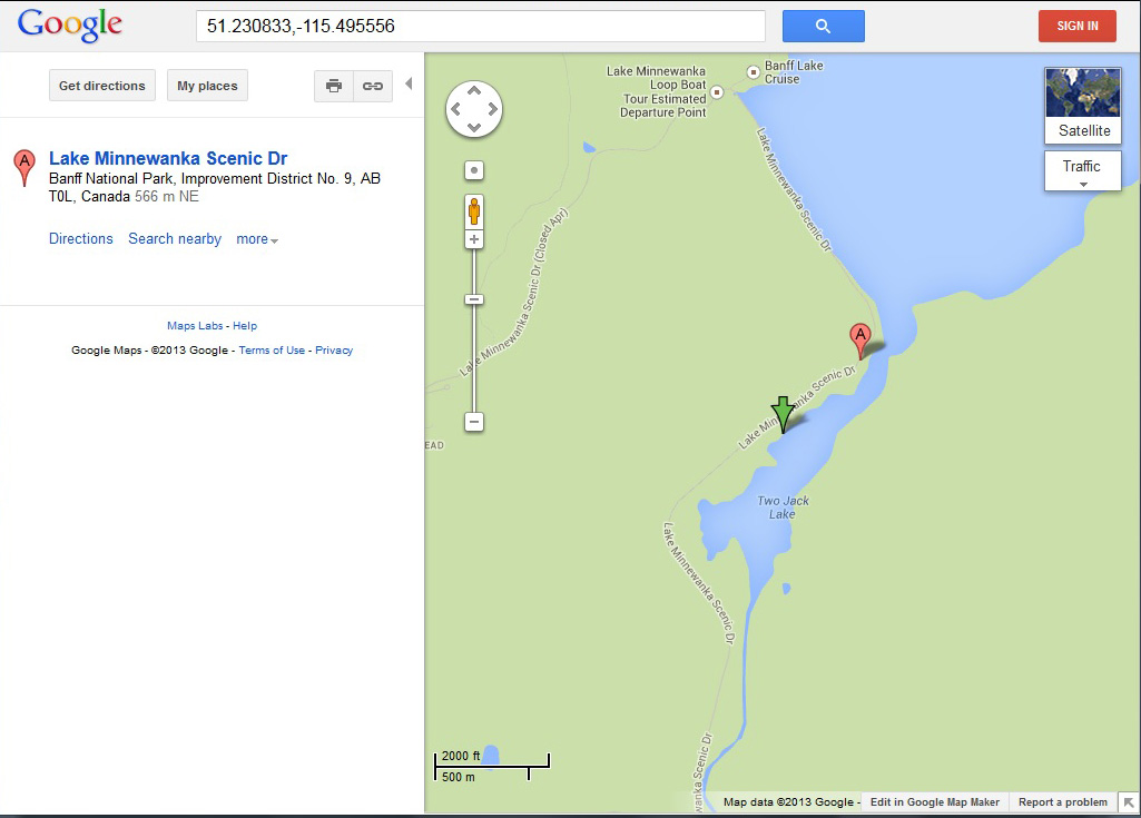 Two Jack Lake - GPS Data dropped into Google Maps